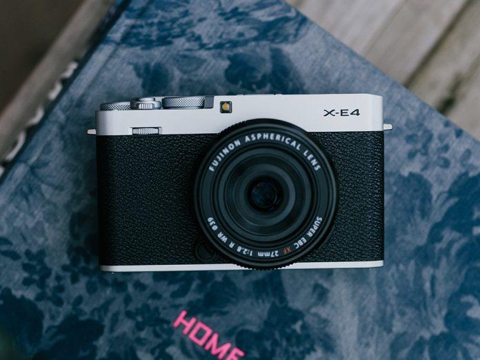 A photo of the Fujifilm X-E4 mirrorless camera
