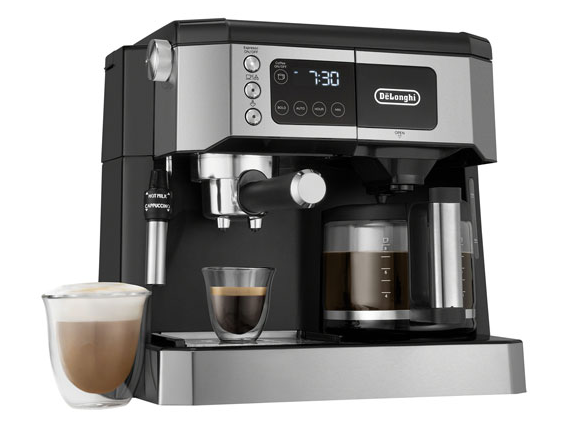 Delonghi all in one machine is a multifunction appliance that makes espresso and coffee, plus grinds beans and froths milk.