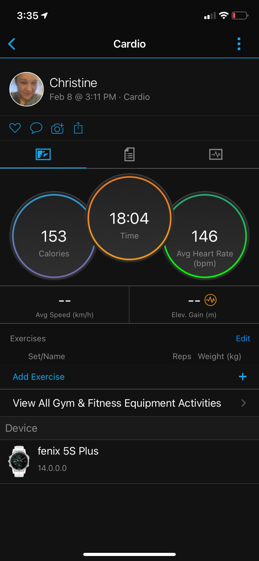 Garmin Connect iQ app cardio summary