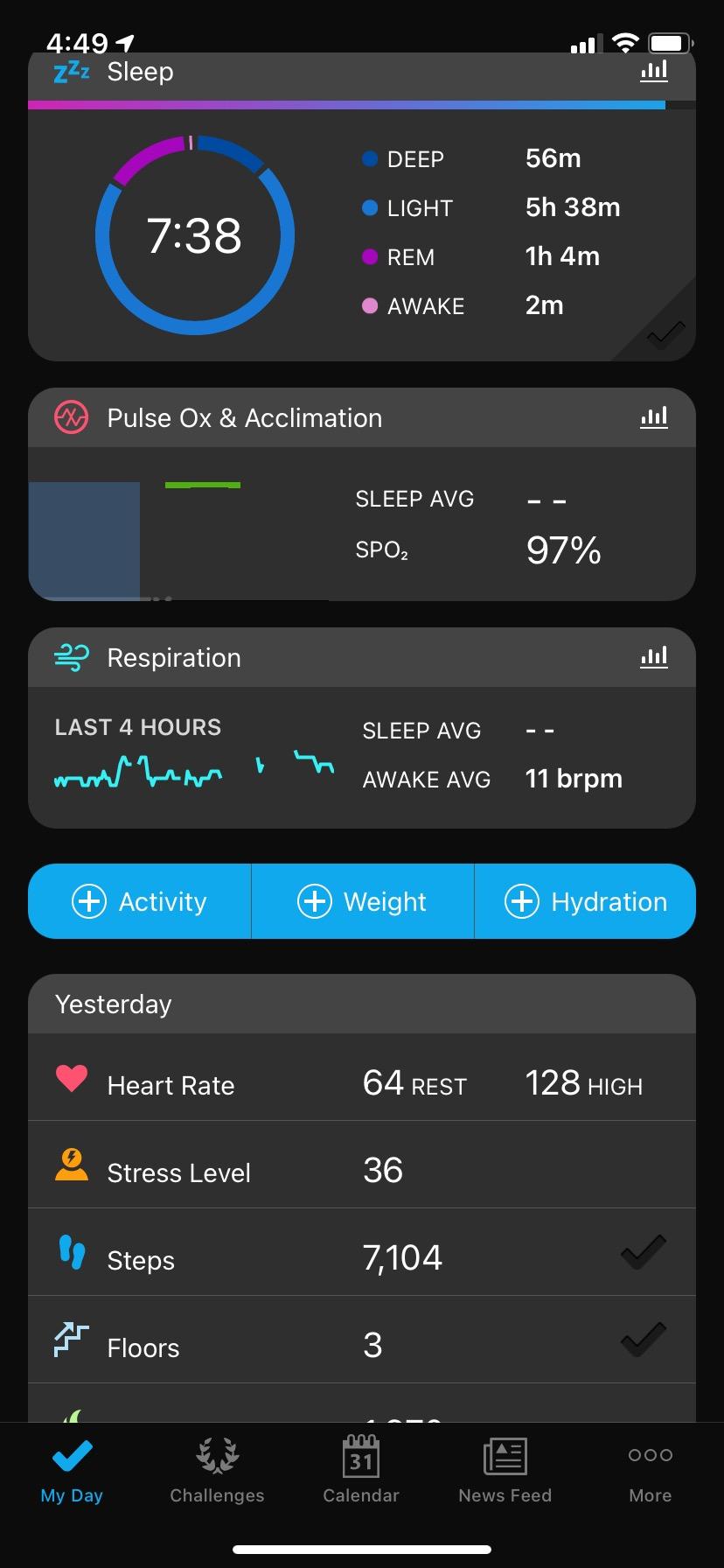 Garmin Connect iQ dashboard