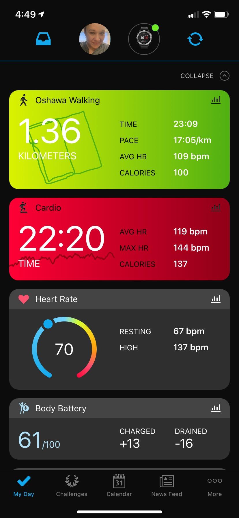 Garmin ConnectiQ app main dash