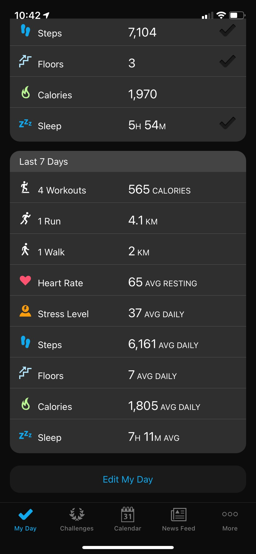 Garmin Connect iQ app last 7 days