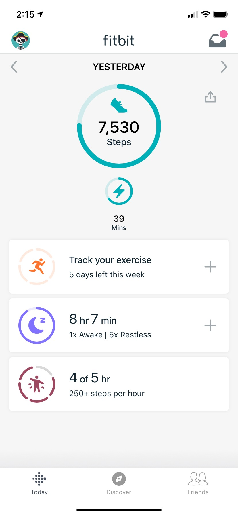 Fitbit app dashboard with child's Ace 3 set up