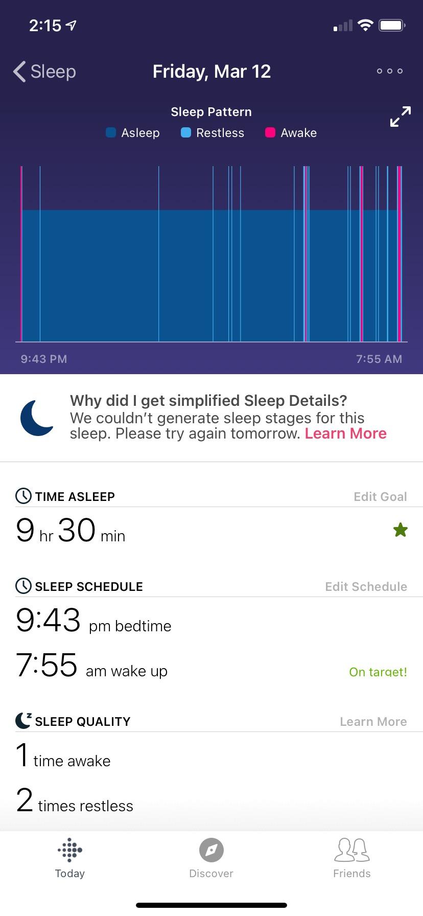 Fitbit app detailed sleep data