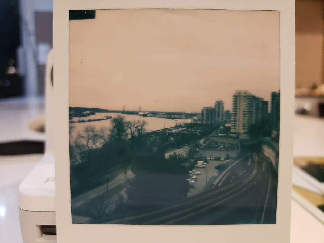 image of a Polaroid photo of a river
