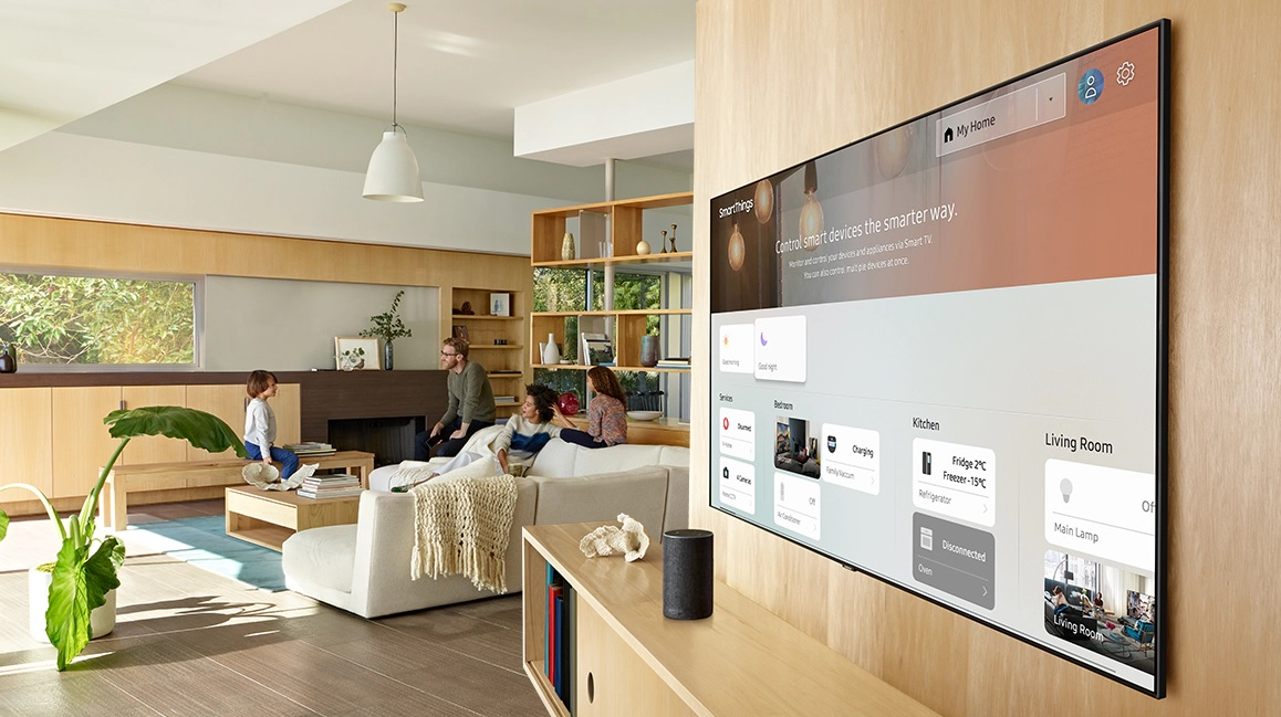 image of a smart TV in a family's living room