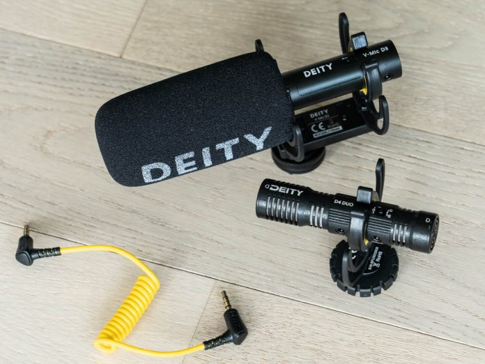 A photo of two Deity video mics