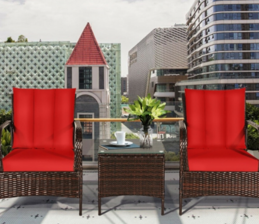 outdoor wicker chairs on balcony