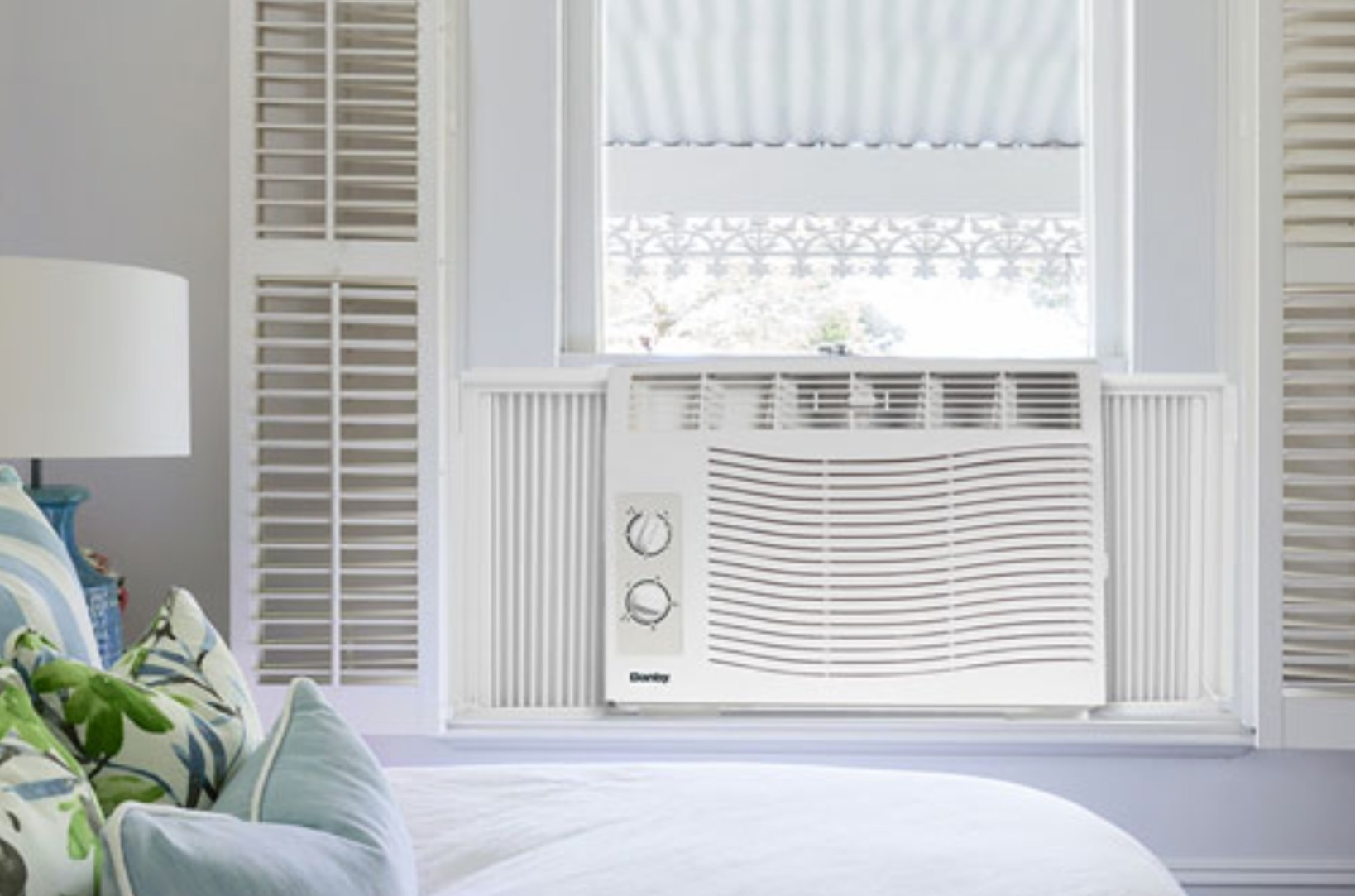 image of a window air conditioner sitting in a window