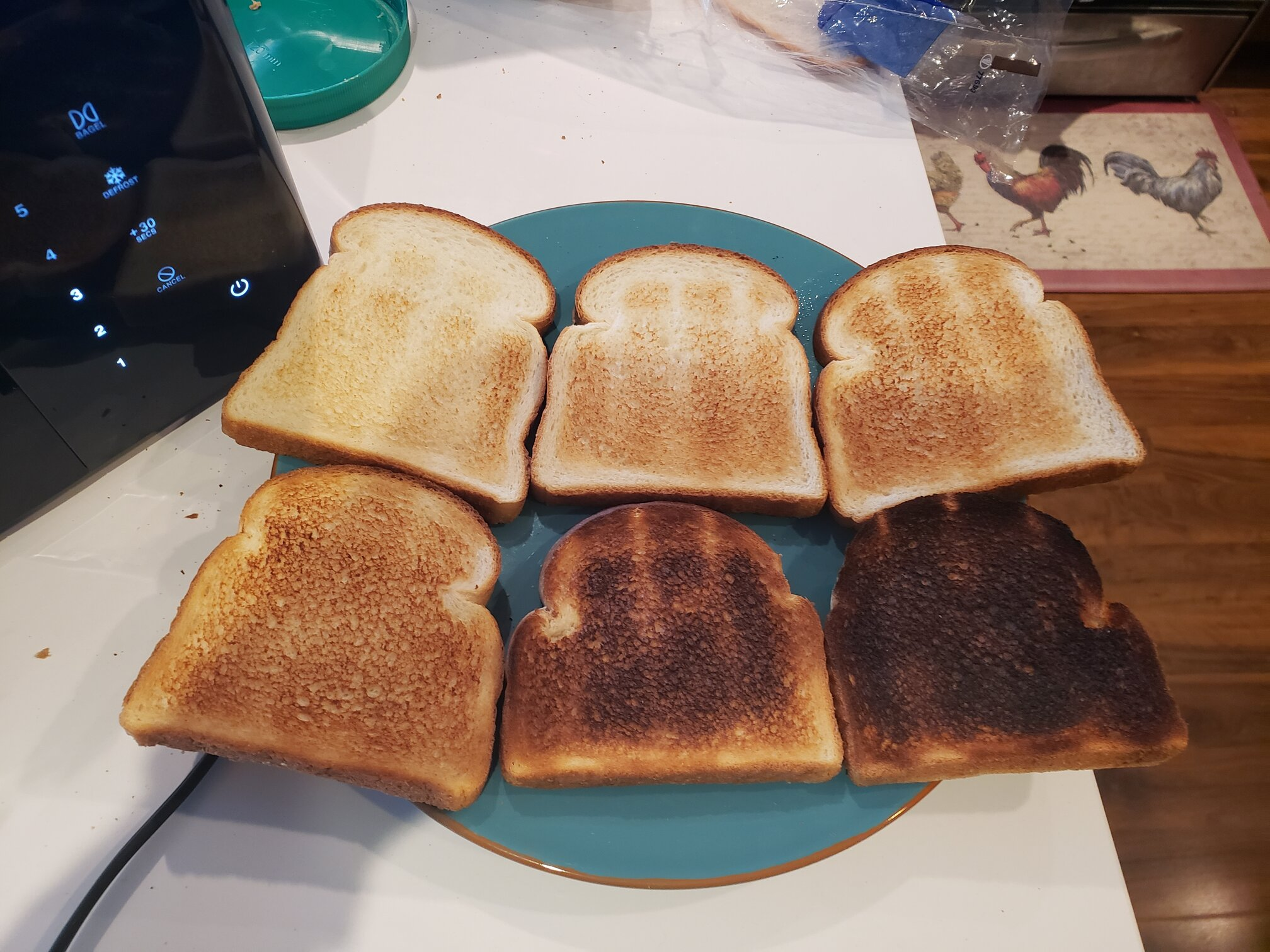image a rainbow of toast, 1 for each darkness level