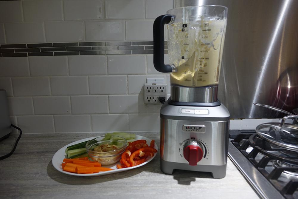 Wolf Gourmet blender making hummus