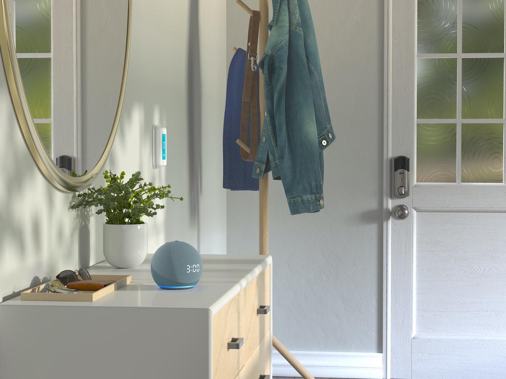 Amazon Echo Dot smart speaker in bathroom