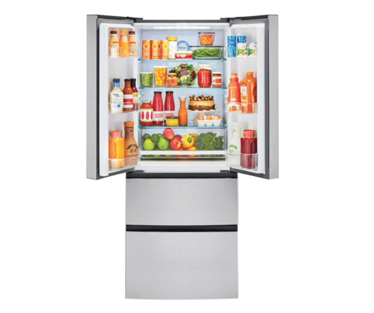 image of a Haier French door refrigerator, open to show storage space