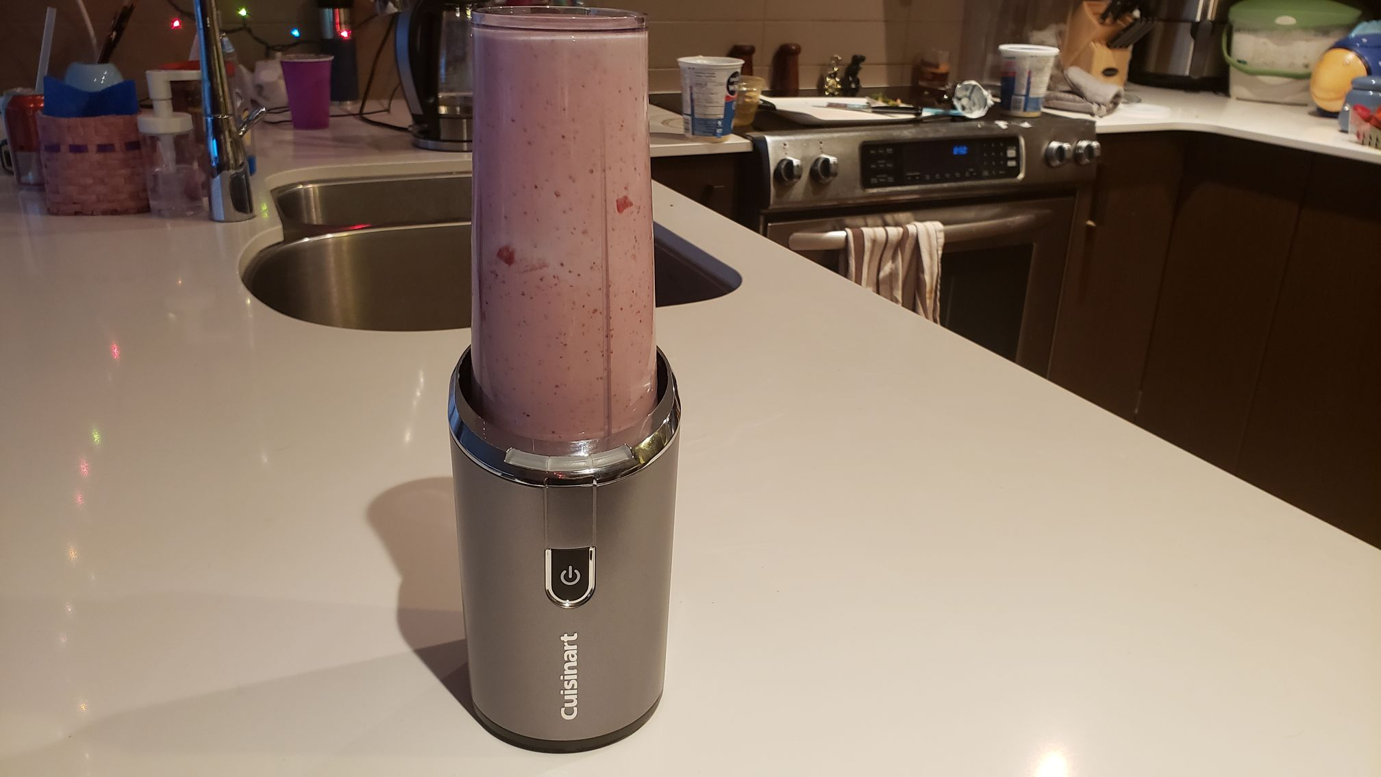 image of the blender full of strawberry smoothie