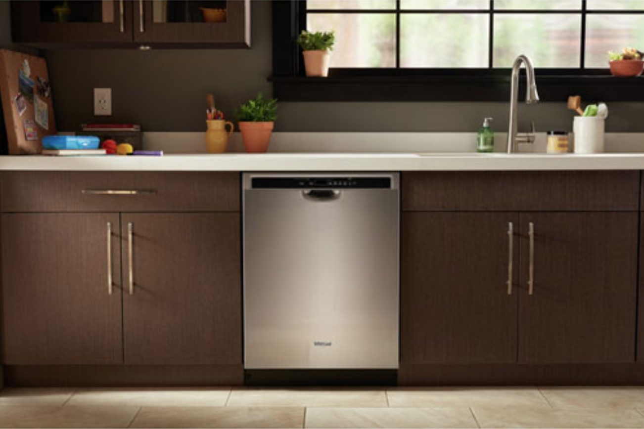image of a Whirlpool built-in dishwasher installed under a counter top