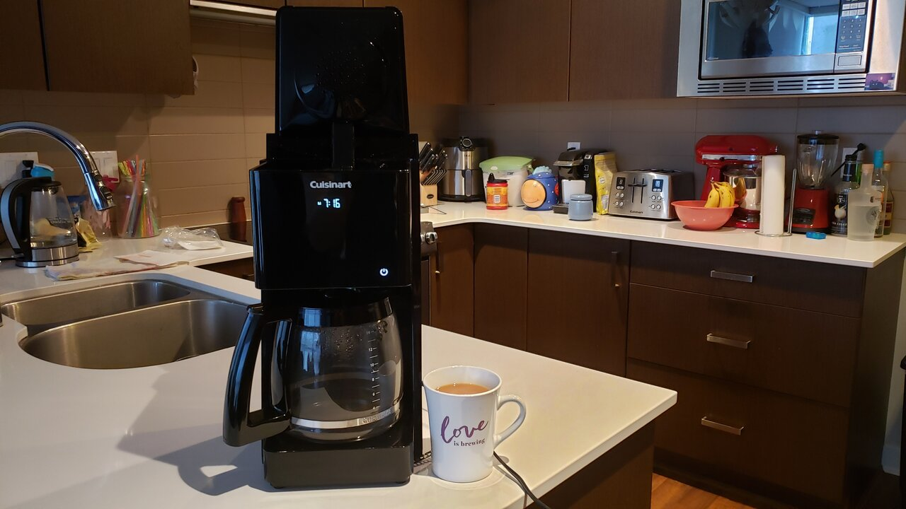 image of the coffee maker with the lid fully open on top