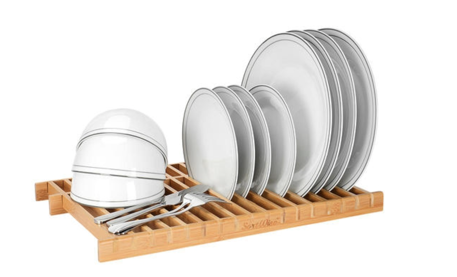 image of a bamboo dish rack holding dishes
