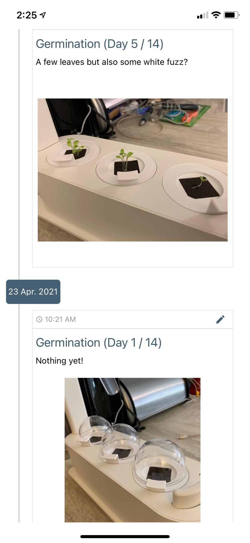 Grobo app germination day 1
