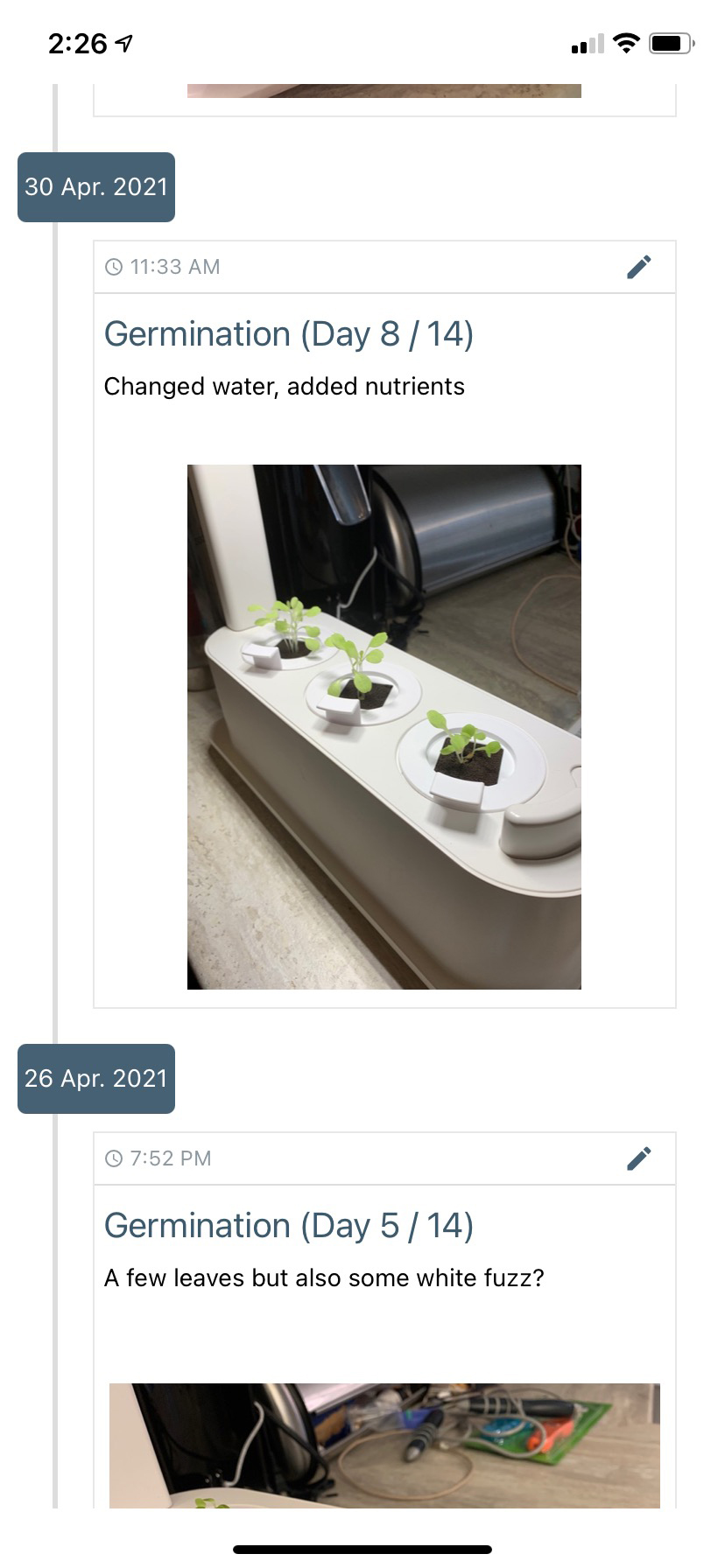 Grobo app germination day 5 to 8