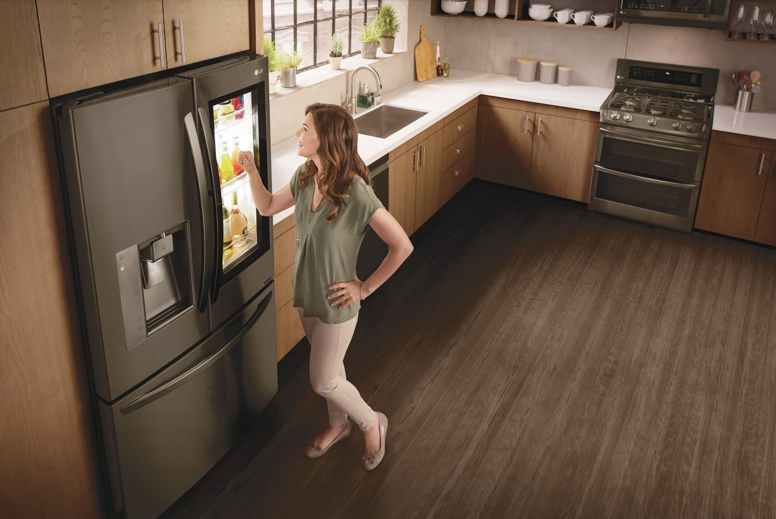 LG knock on refrigerator