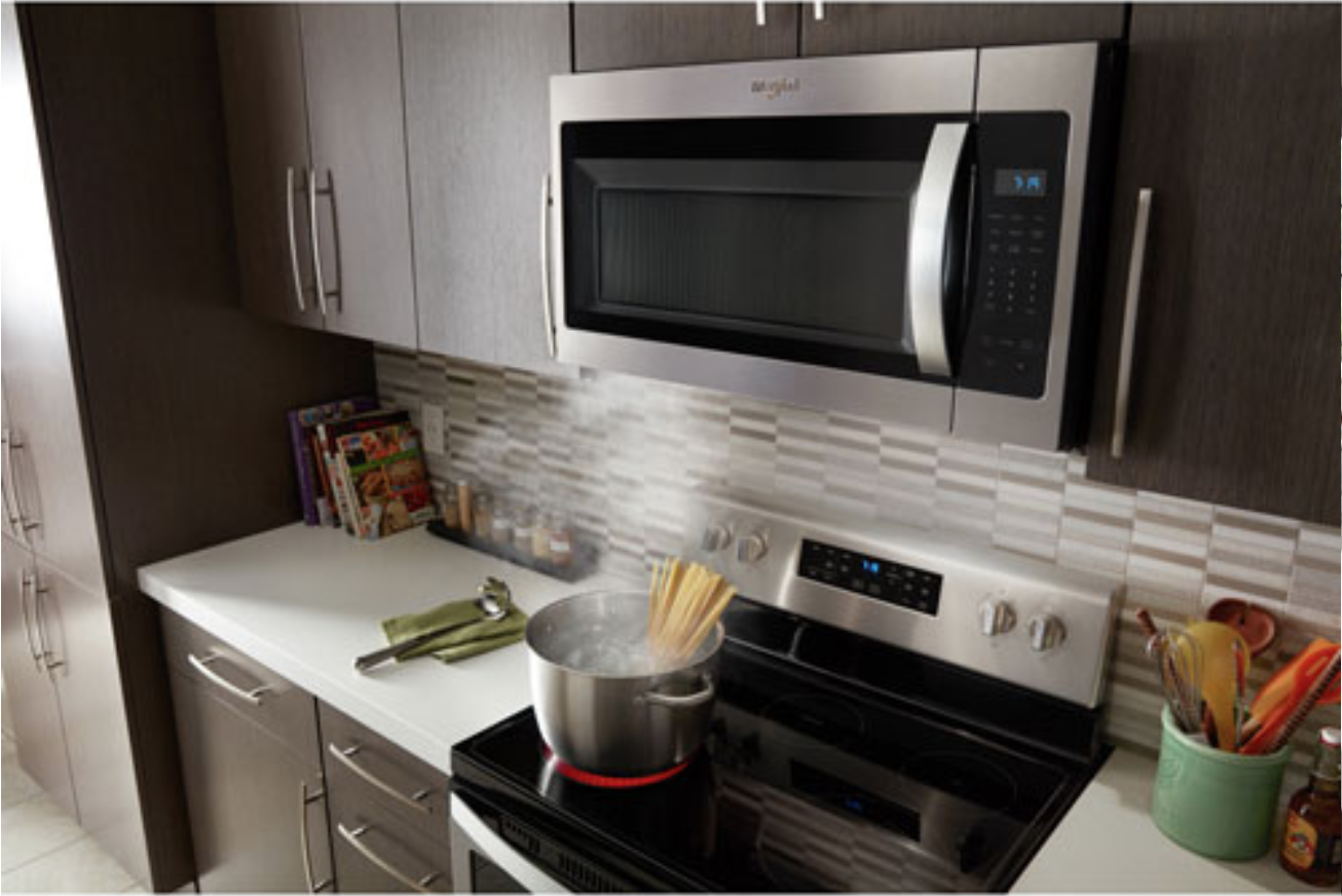 image of an over-the-range microwave installed above a stovetop