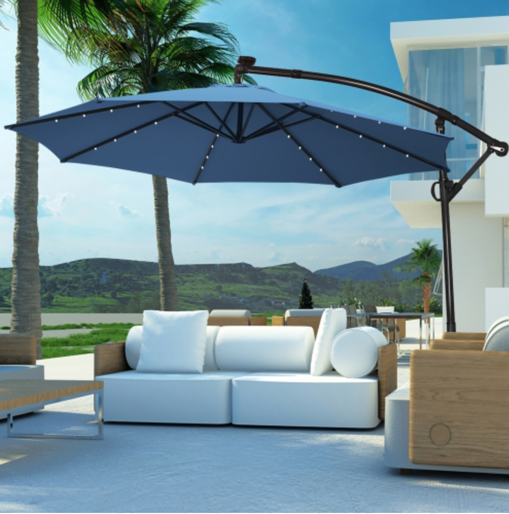 patio section with offset umbrella.