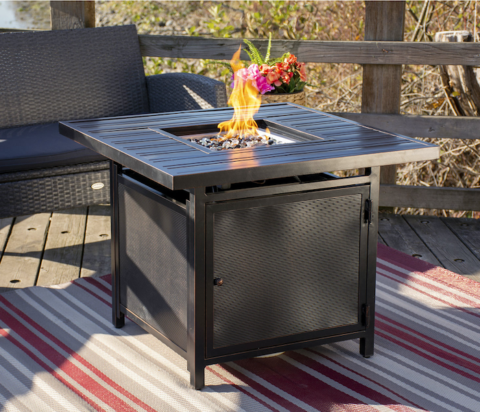 fire table on patio with flame