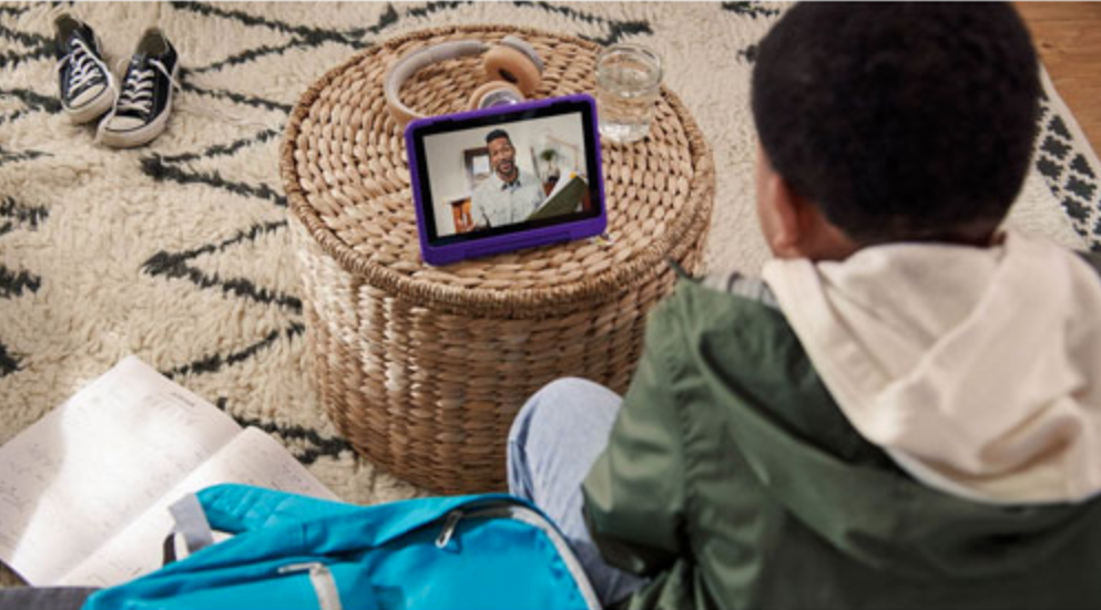 Boy with Amazon Kids Pro tablet