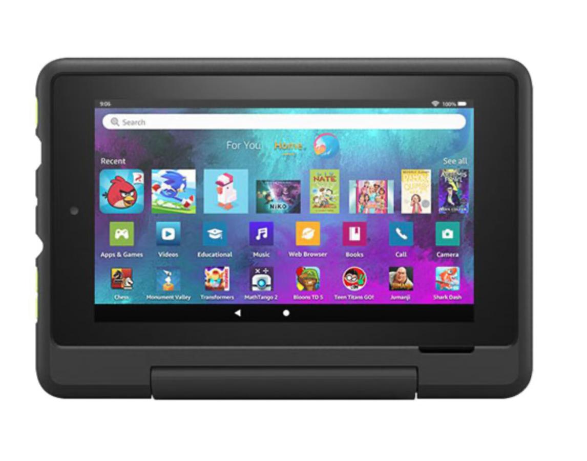 Amazon Fire HD Kids pro tablet in black case