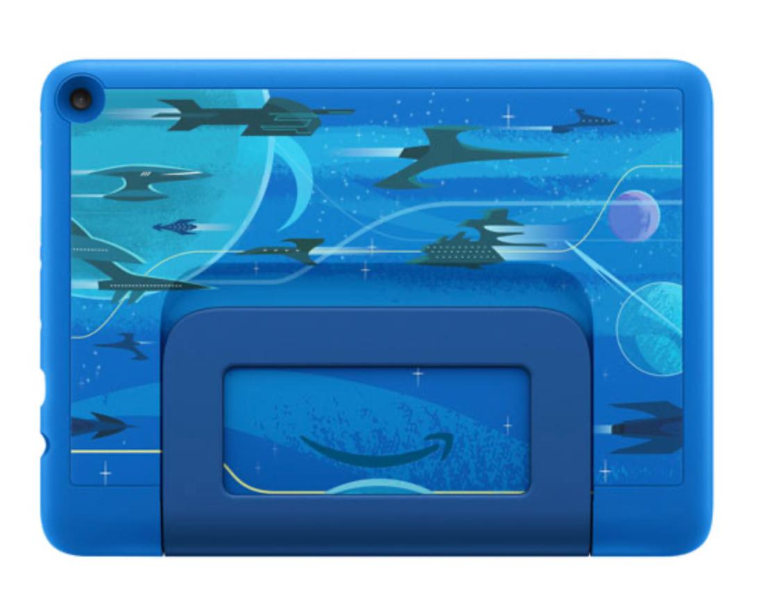 Intergalactic design on back of Amazon tablet