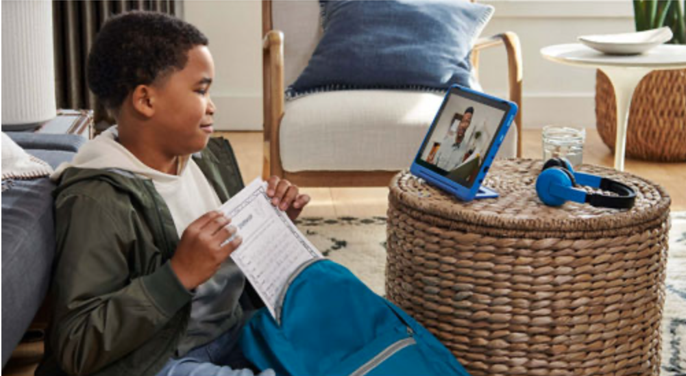 Boy video chatting on Amazon Kids tablet