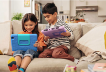 Amazon Fire tablets with two kids