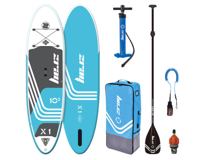 """image of the Zray X1-Rider 10'2"""" Inflatable Stand-Up Paddleboard and all accessories"""