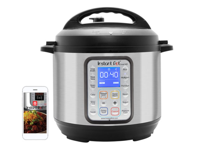 image of a smart Instant Pot next to a mobile phone