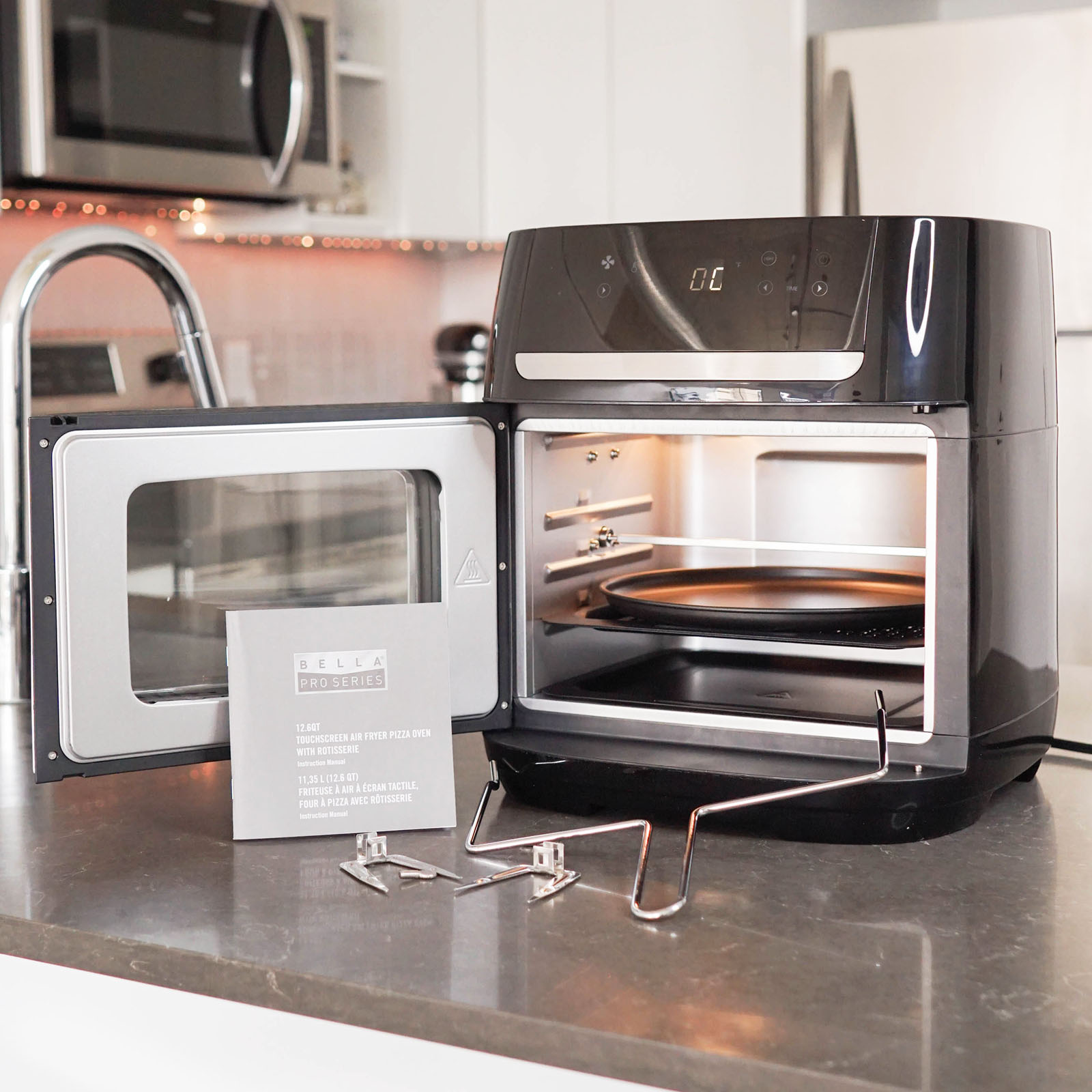 Bella Pro Air Fryer Pizza Oven with Rotisserie what's in the box