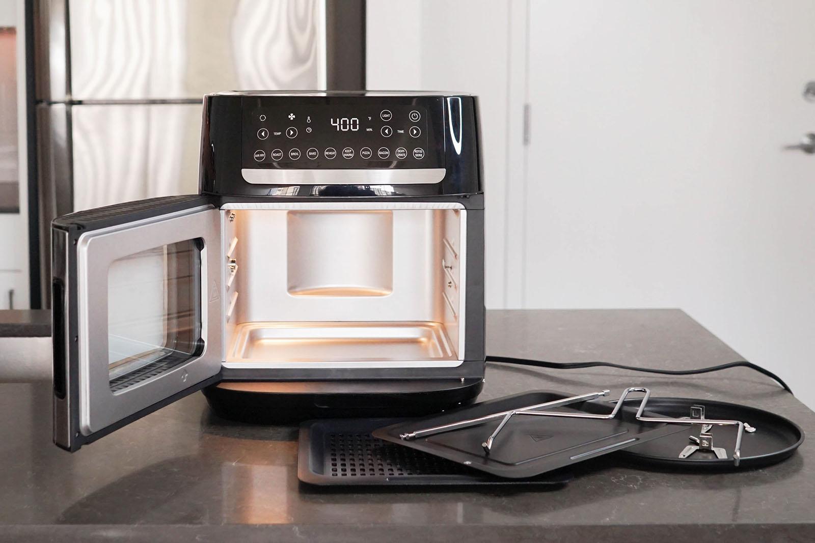 Bella Pro Manual air fryer pizza oven with door open