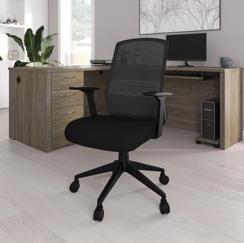 Bestar Onyx Ergonomic Mid-Back Mesh Task Chair - Black