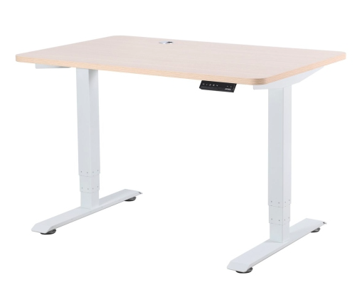 EFFYDESK Business Office Electric Height Adjustable Sit and Stand Computer Desk - White Frame (Oak Wood Table Top)