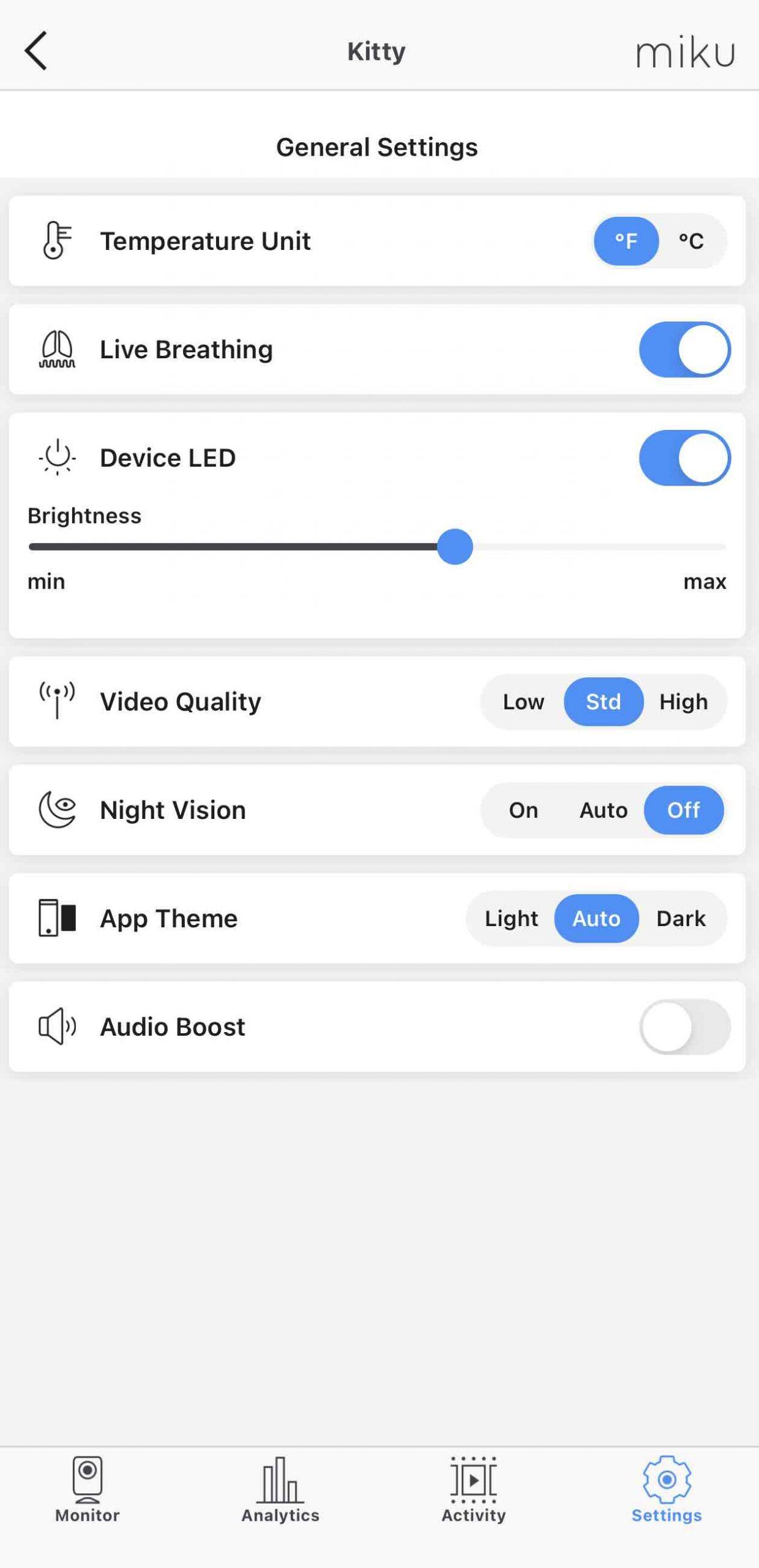 Miku pro app settings