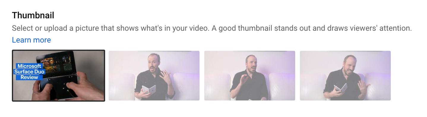 Thumbnail options on YouTube