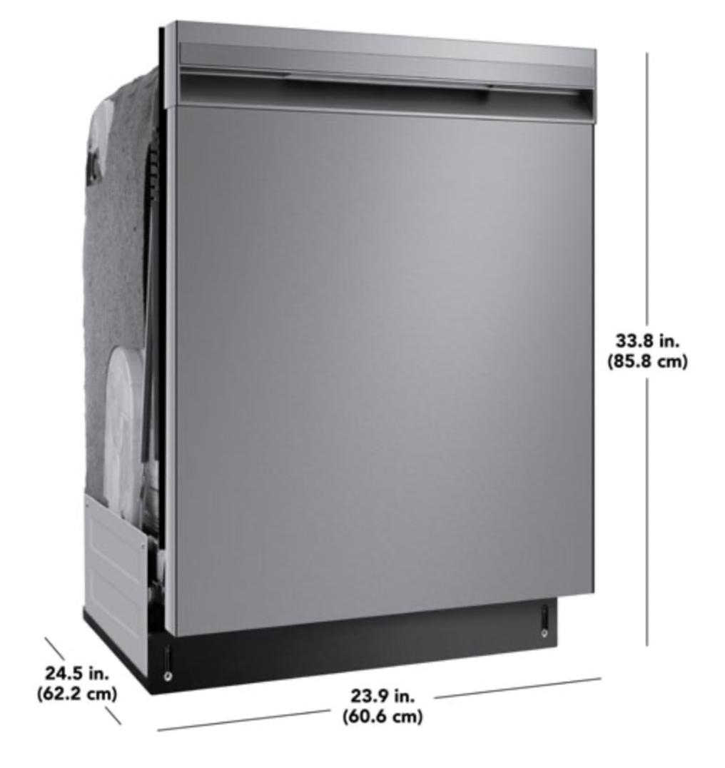 Insignia 24-inch dishwasher with dimensions.