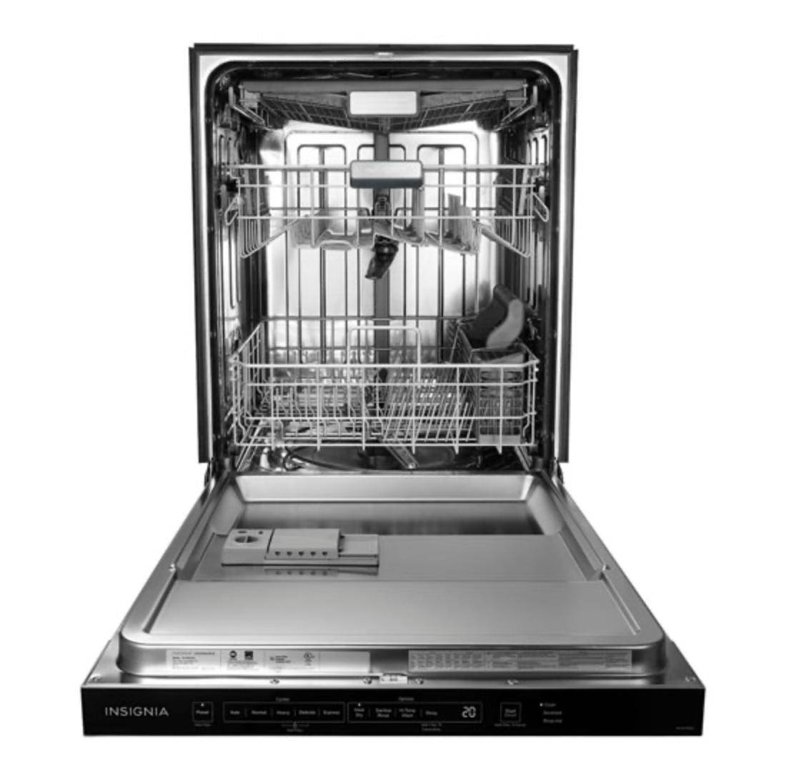 Insignia 24-inch dishwasher open empty.