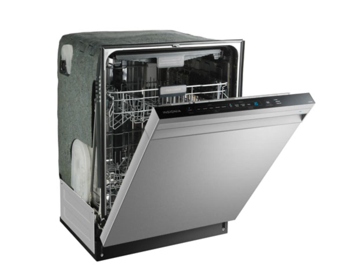 Insignia 24-inch dishwasher half open.