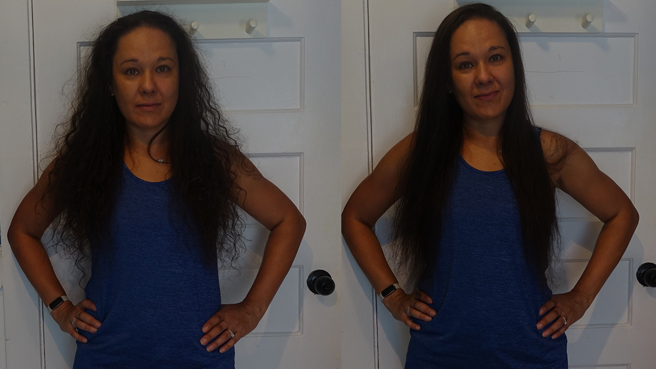 Before and after photos using the Lunata Beauty Styler.