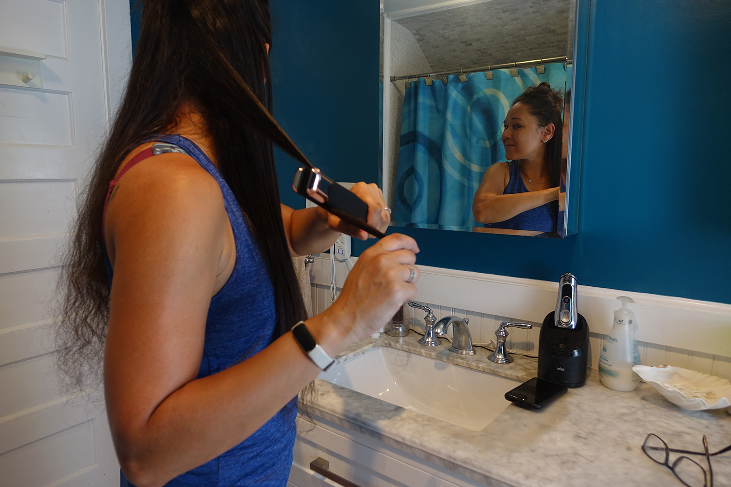 Using the Lunata Beauty Styler in the bathroom