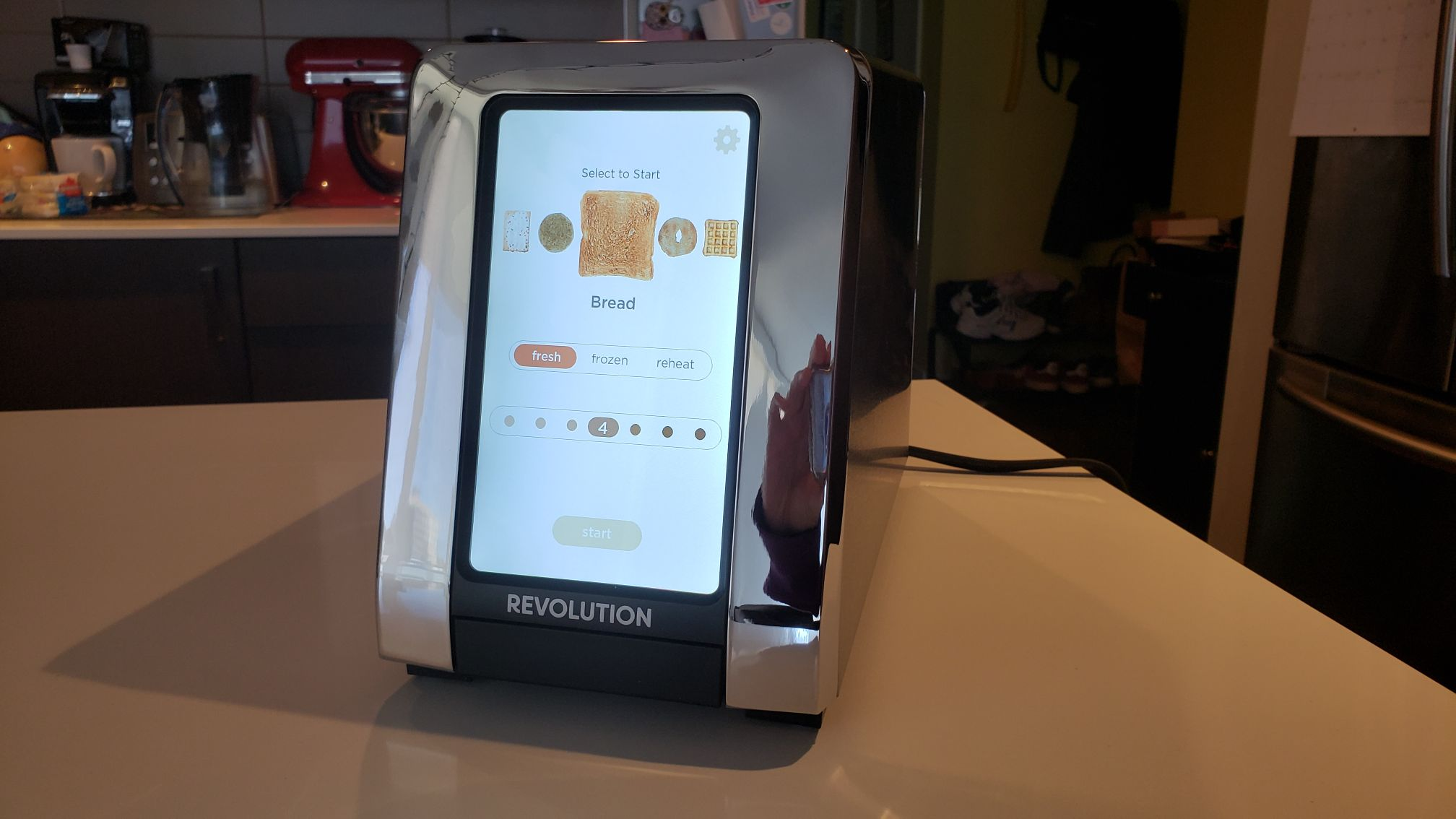 the touchscreen options of the Revolution Toaster