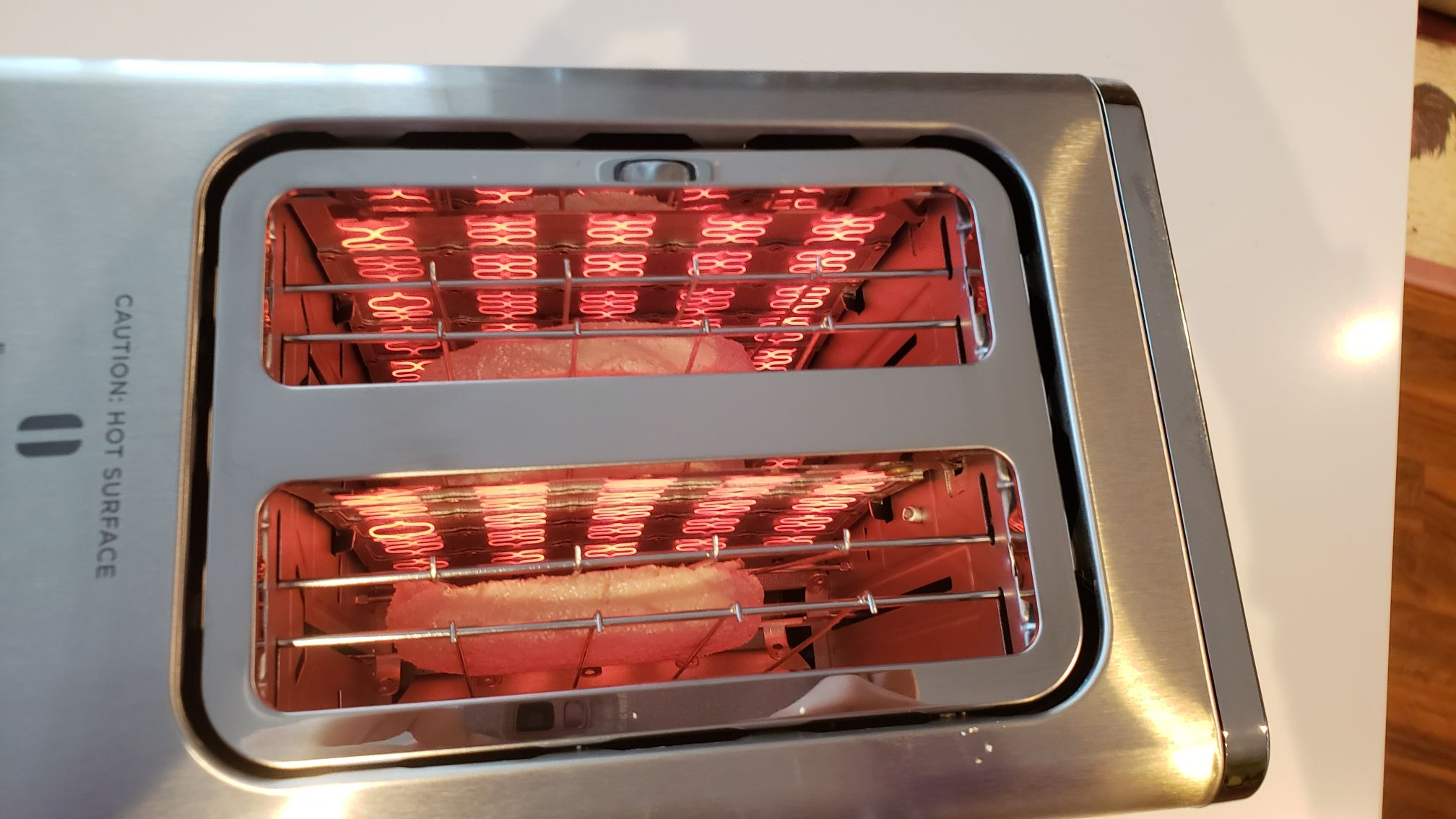 inside the Revolution Toaster as it uses InstaGlo to toast English muffins