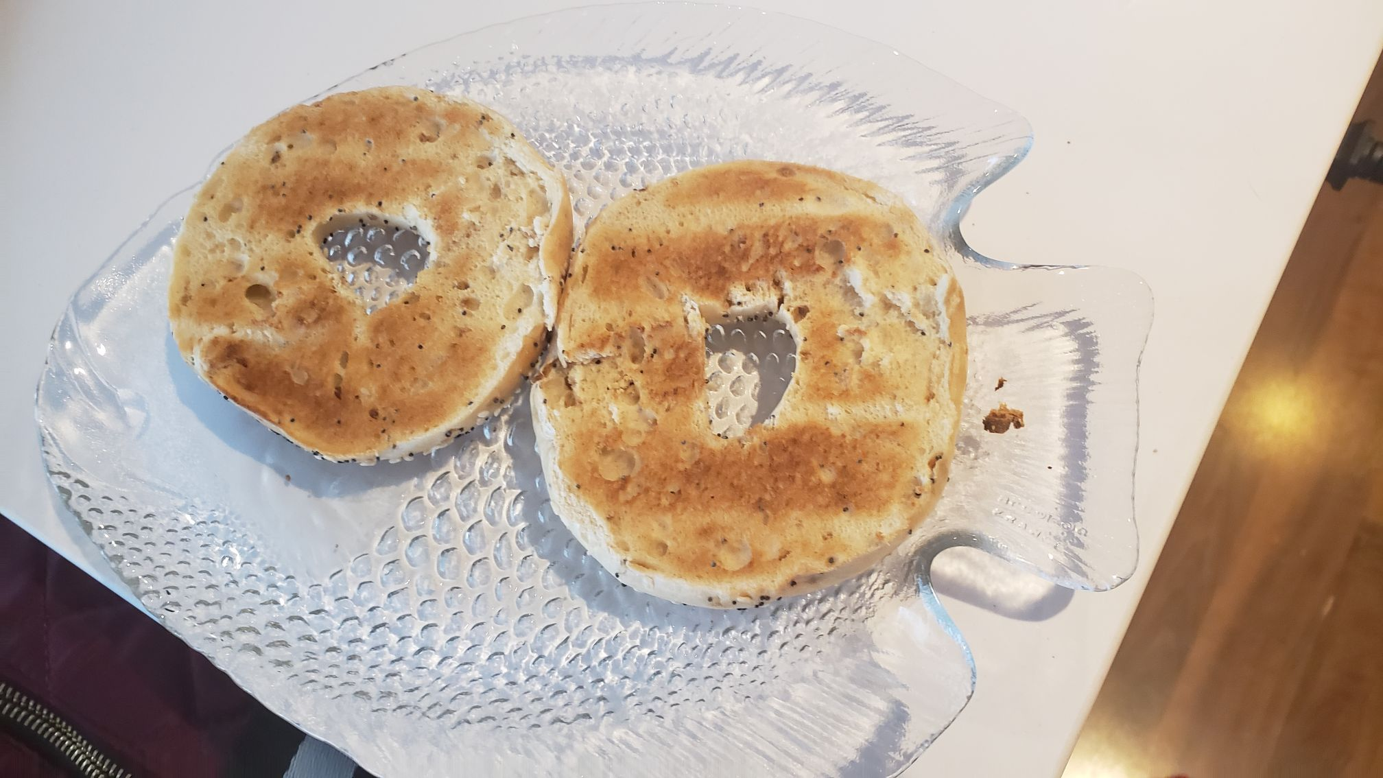 bagel slices on a plate toasted to perfection