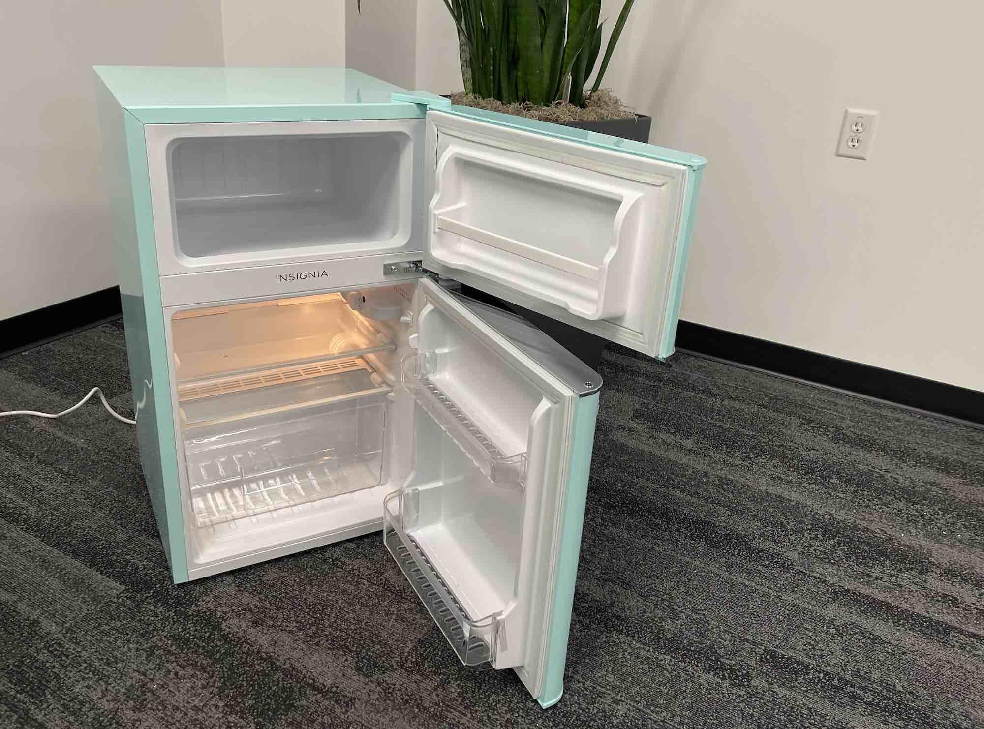 Insignia retro fridge with top freezer