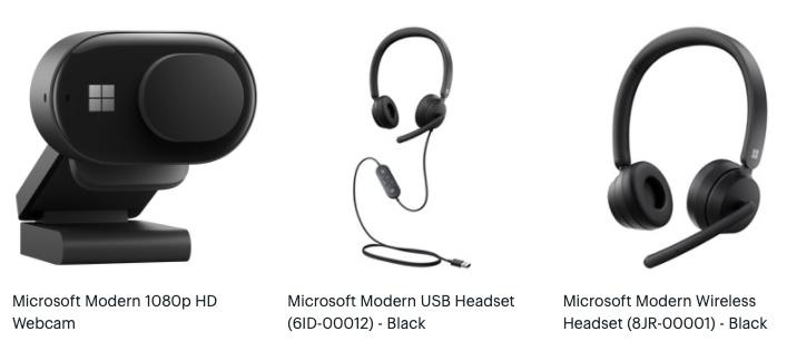 Microsoft Modern headphones and webcam